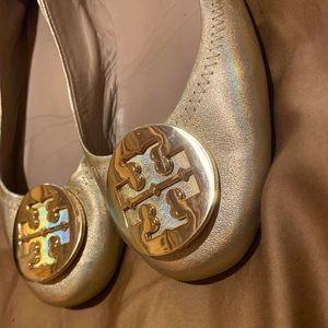 Tory Burch Metallic Gold Minnie ballet flats